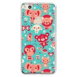 Etui na telefon Huawei P10 Lite - kolorowe zwierzaki.