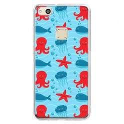 Etui na telefon Huawei P10 Lite - morskie zwierzaki.
