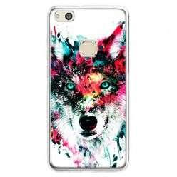 Etui na telefon Huawei P10 Lite - głowa wilka watercolor.