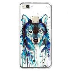 Etui na telefon Huawei P10 Lite - niebieski wilk watercolor.