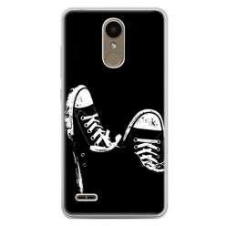 Etui na telefon LG K10 2017 - czarno - białe trampki.