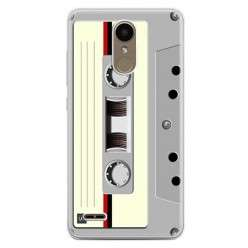 Etui na telefon LG K10 2017 - kaseta retro - biała.