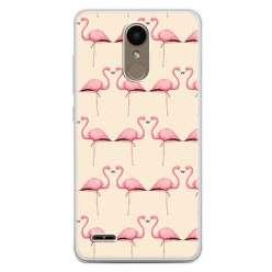 Etui na telefon LG K10 2017 - różowe flamingi.