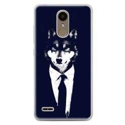 Etui na telefon LG K10 2017 - wilk w garniturze.
