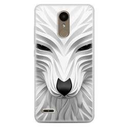 Etui na telefon LG K10 2017 - biały wilk 3d.