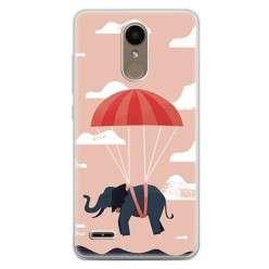 Etui na telefon LG K10 2017 - słoń na spadochronie.