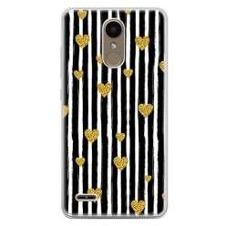Etui na telefon LG K10 2017 - złote serduszka.