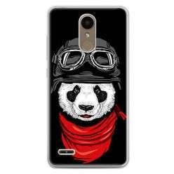 Etui na telefon LG K10 2017 - panda w czapce.