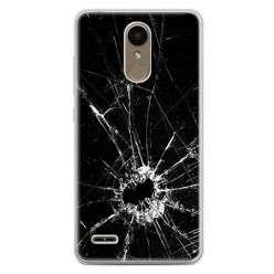 Etui na telefon LG K10 2017 - czarna rozbita szyba.