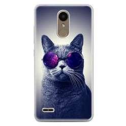 Etui na telefon LG K10 2017 - kot w okularach galaktyka.