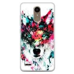 Etui na telefon LG K10 2017 - głowa wilka watercolor.