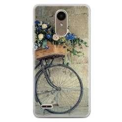 Etui na telefon LG K10 2017 - rower z kwiatami.