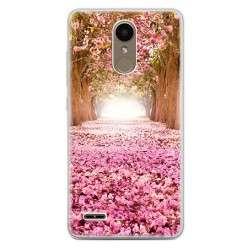 Etui na telefon LG K10 2017 - różowe liście w parku.