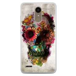 Etui na telefon LG K10 2017 - kwiatowa czaszka.