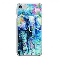 Apple iPhone 8 - silikonowe etui na telefon - Kolorowy słoń.
