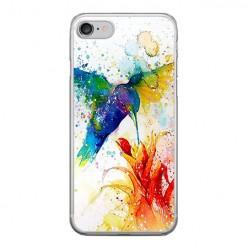 Apple iPhone 8 - silikonowe etui na telefon - Niebieski koliber watercolor.