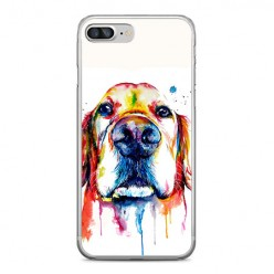 Apple iPhone 8 Plus - silikonowe etui na telefon - Pies labrador watercolor.