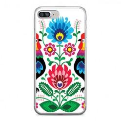 Apple iPhone 8 Plus - silikonowe etui na telefon - Łowickie wzory kwiaty.