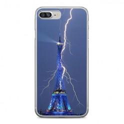 Apple iPhone 8 Plus - silikonowe etui na telefon - Wieża Eiffla z błyskawicą.