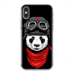 Apple iPhone X - silikonowe etui na telefon - Panda w czapce.