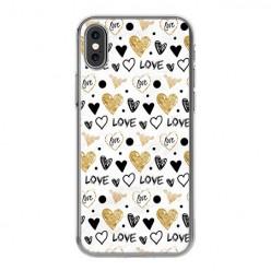 Apple iPhone X - silikonowe etui na telefon - Serduszka Love.