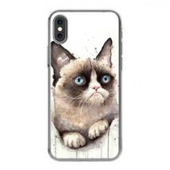 Apple iPhone X - silikonowe etui na telefon - Kot zrzęda watercolor.