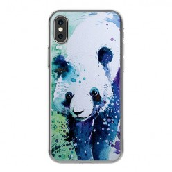 Apple iPhone X - silikonowe etui na telefon - Miś panda watercolor.