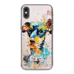 Apple iPhone X - silikonowe etui na telefon - Szczeniak watercolor.