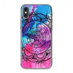 Apple iPhone X - silikonowe etui na telefon - Rozeta watercolor.