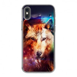 Apple iPhone X - silikonowe etui na telefon - Wilk z galaktyki.