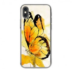 Apple iPhone X - silikonowe etui na telefon - Motyl watercolor.