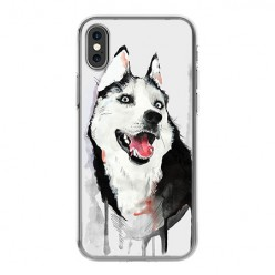 Apple iPhone X - silikonowe etui na telefon - Pies Husky watercolor.