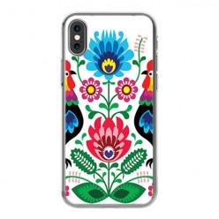 Apple iPhone X - silikonowe etui na telefon - Łowickie wzory kwiaty.
