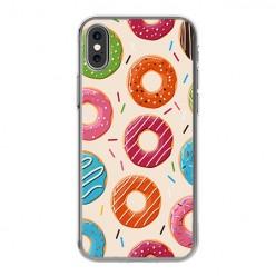 Apple iPhone Xs - silikonowe etui na telefon - Kolorowe pączki.