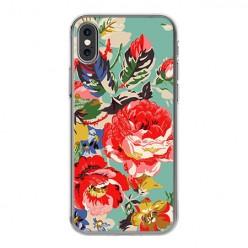 Apple iPhone Xs - silikonowe etui na telefon - Kolorowe róże.