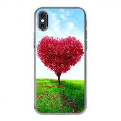 Apple iPhone Xs - silikonowe etui na telefon - Serce z drzewa.