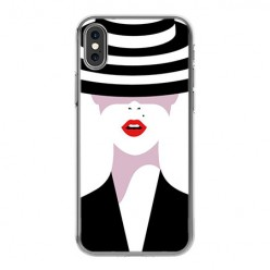 Apple iPhone Xs - silikonowe etui na telefon - Kobieta w kapeluszu.