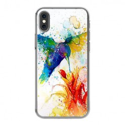 Apple iPhone Xs - silikonowe etui na telefon - Niebieski koliber watercolor.