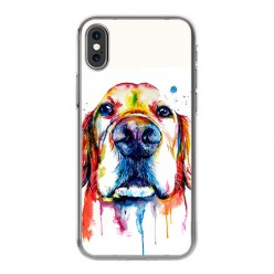 Apple iPhone Xs - silikonowe etui na telefon - Pies labrador watercolor.
