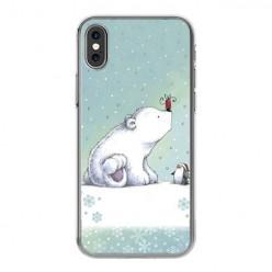Apple iPhone Xs - silikonowe etui na telefon - Polarne zwierzaki.