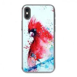 Apple iPhone Xs - silikonowe etui na telefon - Czerwona papuga watercolor.