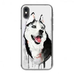 Apple iPhone Xs - silikonowe etui na telefon - Pies Husky watercolor.
