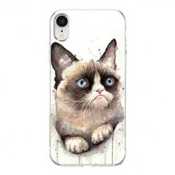 Apple iPhone XR - silikonowe etui na telefon - Kot zrzęda watercolor.