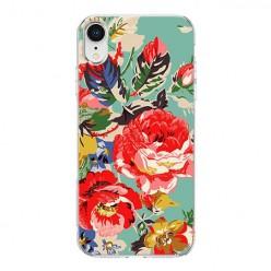Apple iPhone XR - silikonowe etui na telefon - Kolorowe róże.