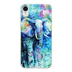 Apple iPhone XR - silikonowe etui na telefon - Kolorowy słoń.