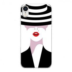 Apple iPhone XR - silikonowe etui na telefon - Kobieta w kapeluszu.