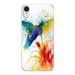 Apple iPhone XR - silikonowe etui na telefon - Niebieski koliber watercolor.