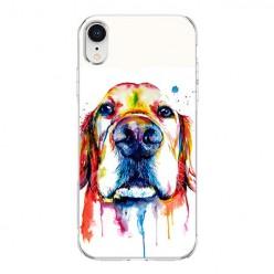 Apple iPhone XR - silikonowe etui na telefon - Pies labrador watercolor.