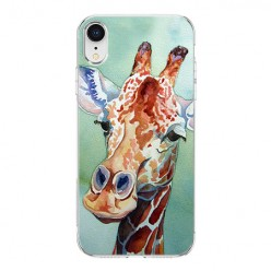 Apple iPhone XR - silikonowe etui na telefon - Żyrafa watercolor.
