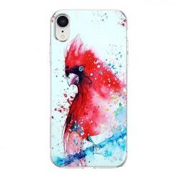 Apple iPhone XR - silikonowe etui na telefon - Czerwona papuga watercolor.